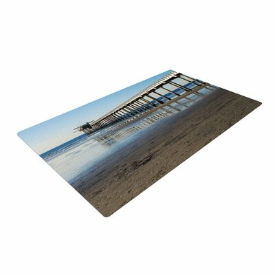 Nick Nareshni Scripps Beach Pier Coastal Photography Brown/Blue Area Rug