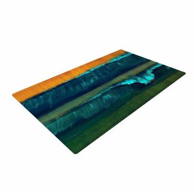 Nathan Gibbs Leaf Tea Teal/Blue/Orange Area Rug