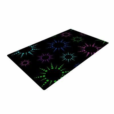 NL Designs Rainbow FireworksGeometric Multicolor/Black Area Rug
