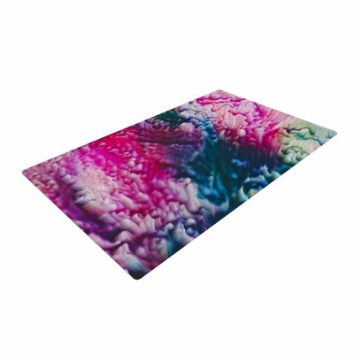 Malia Shields Splash Abstract Ink Magenta/Green Area Rug