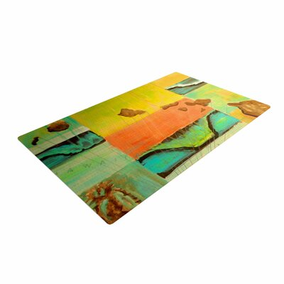 Nathan Gibbs Origins Teal/Orange Area Rug Rug Size: 2 x 3
