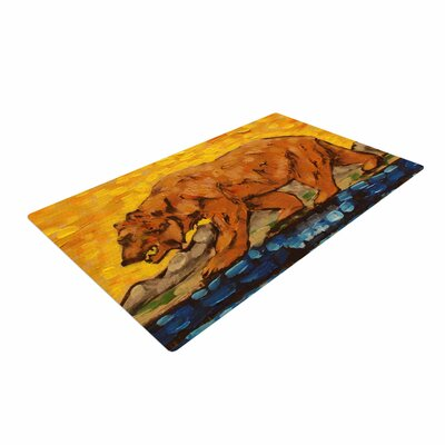 Nathan Gibbs Art For a Public Bear Blue/Red Area Rug