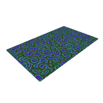 NL Designs Swirling Vines Blue/Green Area Rug Rug Size: 2 x 3