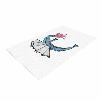 NL Designs Water Dragon Blue/White Area Rug