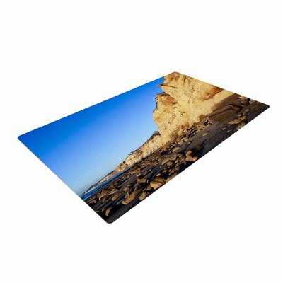 Nick Nareshni Beach Cliffside Rocks Blue/Yellow Area Rug