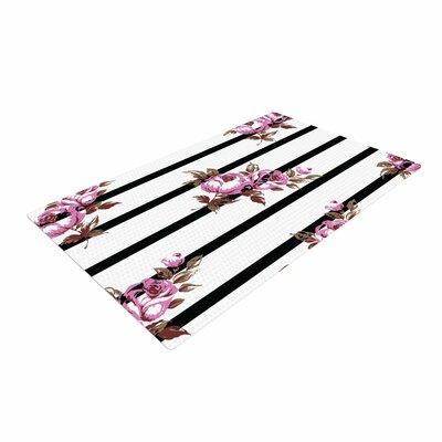 NL Designs Floral Stripes Black/White/Purple Area Rug