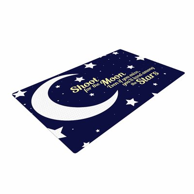 NL Designs Moon and Stars Quote Blue/White Area Rug