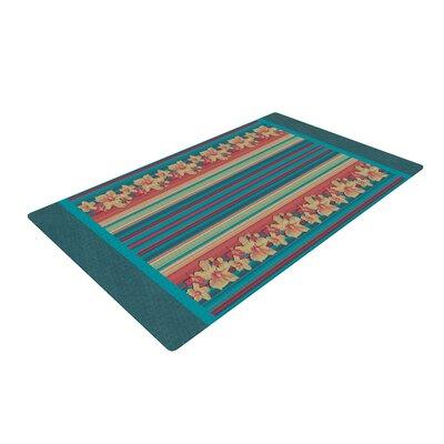 Nina May Mahalo Denim Stripe Floral Teal Area Rug Rug Size: 2 x 3
