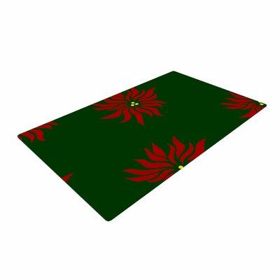 NL Designs Poinsettias Green/Red Area Rug