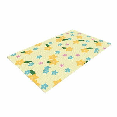 NL Designs Tropical Flowers Pattern Yellow Area Rug