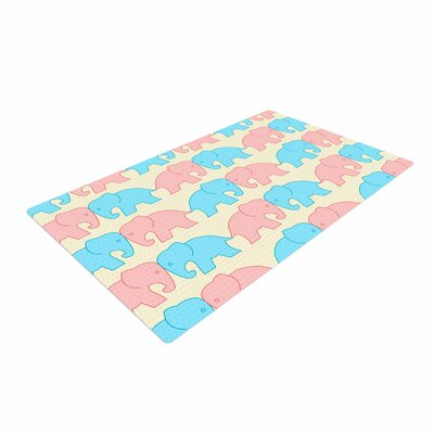 NL Designs Elephants on Parade Animals Pastel Area Rug Rug Size: 2 x 3