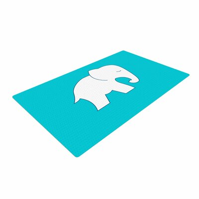 NL Designs Cute Elephant Abstract Blue/White Area Rug