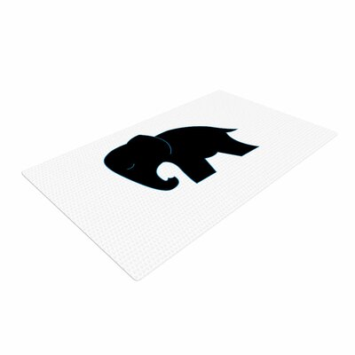 NL Designs Cute Elephant Animals Black Area Rug