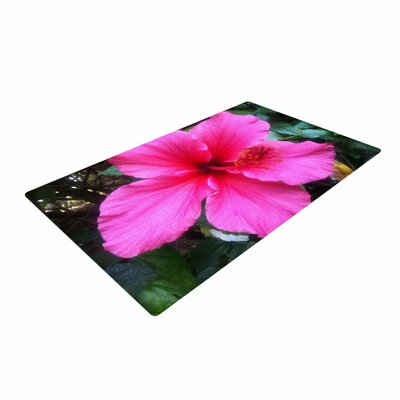 NL Designs Tropical Pink Hibiscus Floral Pink Area Rug