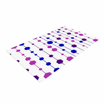 NL Designs Cool Dots Line Pattern White/Pink/Blue Area Rug