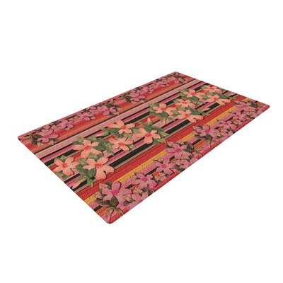 Nina May Peach Hibiscus Stripe Pink/Orange Area Rug Rug Size: 4 x 6