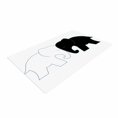 NL Designs Elephant Love Black/White Area Rug Rug Size: 4 x 6