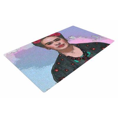 Oriana Cordero Trendy Frida Kahlo-Farewell Black/Red Area Rug