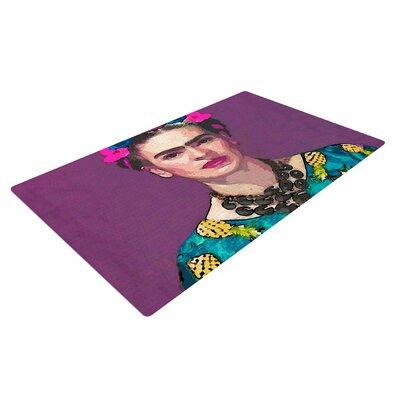 Oriana Cordero Trendy Frida Kahlo Purple/Teal Area Rug