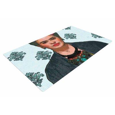 Oriana Cordero Frida Kahlo-Trendy V2 Gray/Blue Area Rug