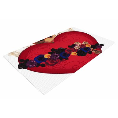 Oriana Cordero Sacred Heart For Frida Red/Purple Area Rug