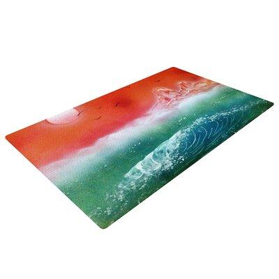 Infinite Spray Art Dream Seascape Teal/Red Area Rug
