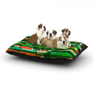 Frederic Levy-Hadida Squares Traffic Dog Pillow with Fleece Cozy Top Size: Large (50 W x 40 D x 8 H), Color: Green