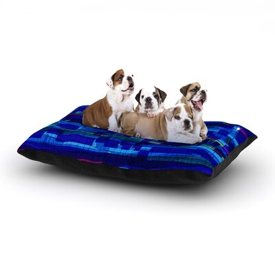 Frederic Levy-Hadida Squares Traffic Dog Pillow with Fleece Cozy Top Size: Small (40 W x 30 D x 8 H), Color: Blue
