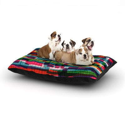 Frederic Levy-Hadida Squares Traffic Dog Pillow with Fleece Cozy Top Color: Pastel, Size: Large (50 W x 40 D x 8 H)