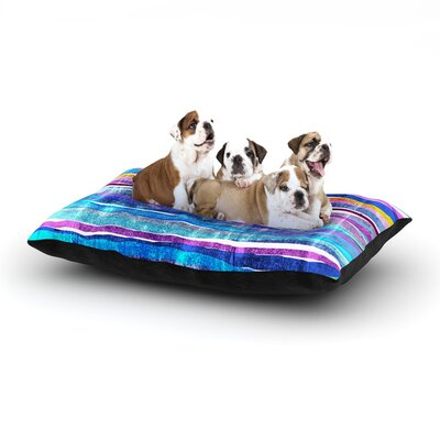 Frederic Levy-Hadida Fancy Stripes Dog Pillow with Fleece Cozy Top Size: Small (40 W x 30 D x 8 H), Color: Dark/Blue