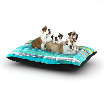 Frederic Levy-Hadida Fancy Stripes Dog Pillow with Fleece Cozy Top Size: Small (40 W x 30 D x 8 H), Color: Aqua