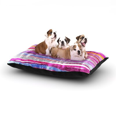 Frederic Levy-Hadida Fancy Stripes Dog Pillow with Fleece Cozy Top Size: Large (50 W x 40 D x 8 H), Color: Pink