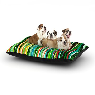 Frederic Levy-Hadida Fancy Stripes Dog Pillow with Fleece Cozy Top Size: Large (50 W x 40 D x 8 H), Color: Green