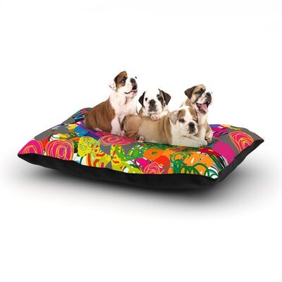 Frederic Levy-Hadida Psychedelic Garden Dog Pillow with Fleece Cozy Top Size: Large (50 W x 40 D x 8 H)