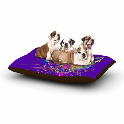 Frederic Levy-Hadida 'Candy Cat' Dog Pillow with Fleece Cozy Top Color: Purple/Rainbow