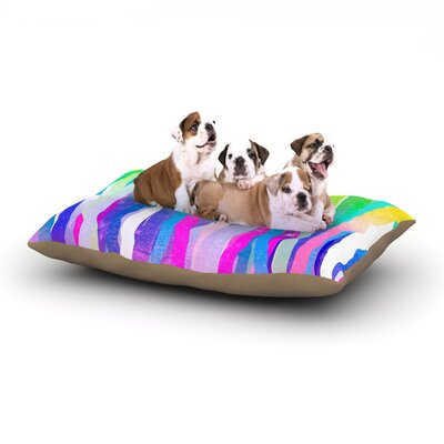 Frederic Levy-Hadida Jungle Stripes Painting Dog Pillow with Fleece Cozy Top Size: Small (40 W x 30 D x 8 H), Color: Pink/Yellow