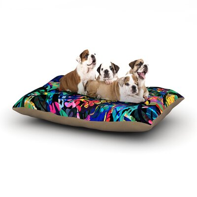 Gabriela Fuente Flora Splash Dark Dog Pillow with Fleece Cozy Top Size: Large (50 W x 40 D x 8 H)