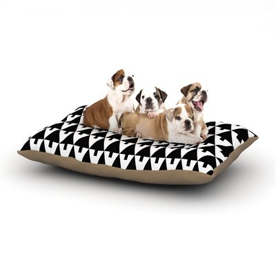 Gabriela Fuente Happy X-Mas Geometric Monotone Dog Pillow with Fleece Cozy Top Size: Small (40 W x 30 D x 8 H), Color: Black/White