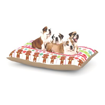 Heidi Jennnings Gumdrop Buttons Gingerbread Dog Pillow with Fleece Cozy Top Size: Large (50 W x 40 D x 8 H)