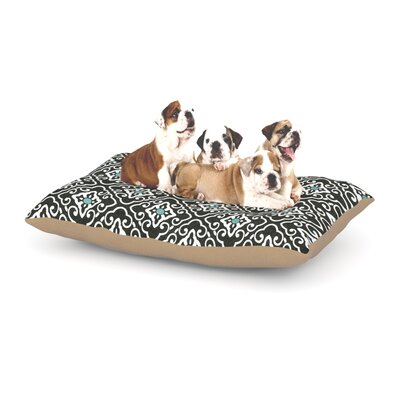 Heidi Jennings Black Blue Geometric Dog Pillow with Fleece Cozy Top Size: Large (50 W x 40 D x 8 H)