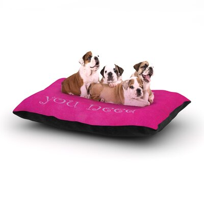 Iris Lehnhardt Love is all you need Quote Dog Pillow with Fleece Cozy Top Size: Large (50 W x 40 D x 8 H)