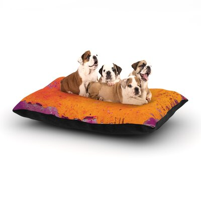Iris Lehnhardt Orange Purple Paint Dog Pillow with Fleece Cozy Top Size: Large (50 W x 40 D x 8 H)