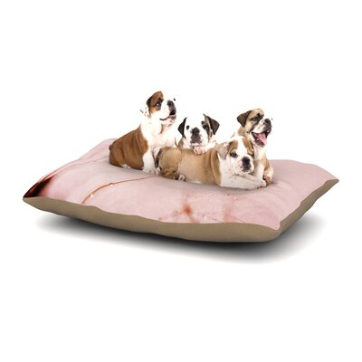 Iris Lehnhardt Droplets Blush Flower Dog Pillow with Fleece Cozy Top Size: Large (50 W x 40 D x 8 H)