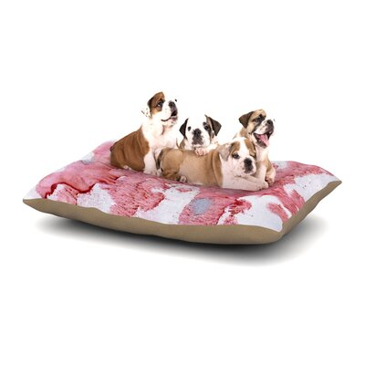 Iris Lehnhardt Soft Pink Splashes Dog Pillow with Fleece Cozy Top Size: Large (50 W x 40 D x 8 H)