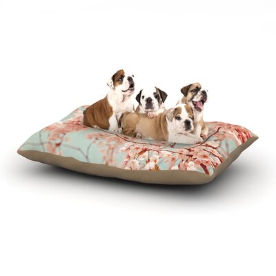 Iris Lehnhardt Blossoms All Over Flowers Dog Pillow with Fleece Cozy Top Size: Large (50 W x 40 D x 8 H)