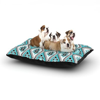 Jacqueline Milton Oak Leaf Floral Dog Pillow with Fleece Cozy Top Size: Small (40 W x 30 D x 8 H), Color: Turquoise/Blue