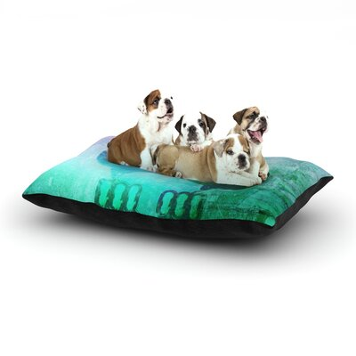 iRuz33 Showly Teal Dog Pillow with Fleece Cozy Top Size: Large (50 W x 40 D x 8 H)