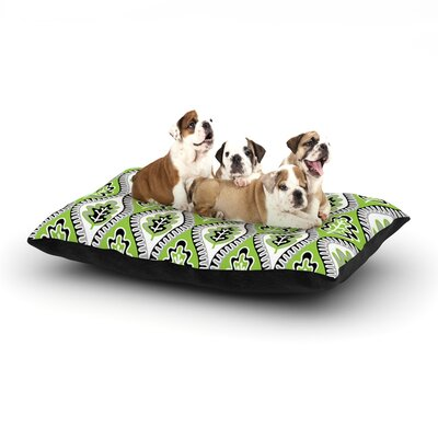Jacqueline Milton Oak Leaf Floral Dog Pillow with Fleece Cozy Top Color: Lime/Green, Size: Large (50 W x 40 D x 8 H)