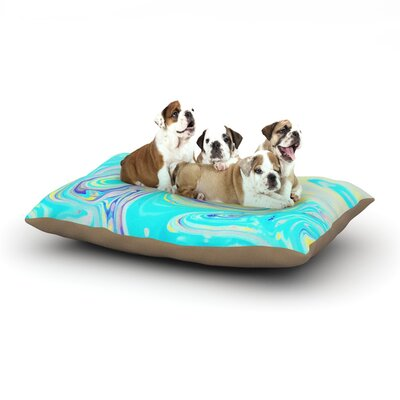 Ingrid Beddoes Aqua Swirl Paint Dog Pillow with Fleece Cozy Top Size: Small (40 W x 30 D x 8 H)
