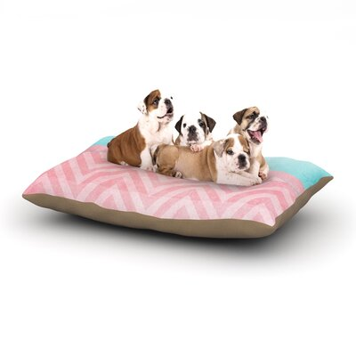 Ingrid Beddoes Light Chevron Pink & Turquoise Dog Pillow with Fleece Cozy Top Size: Large (50 W x 40 D x 8 H)